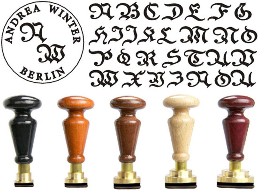 Siegel Gummistempel Baroc Rundgravur mit Initialen