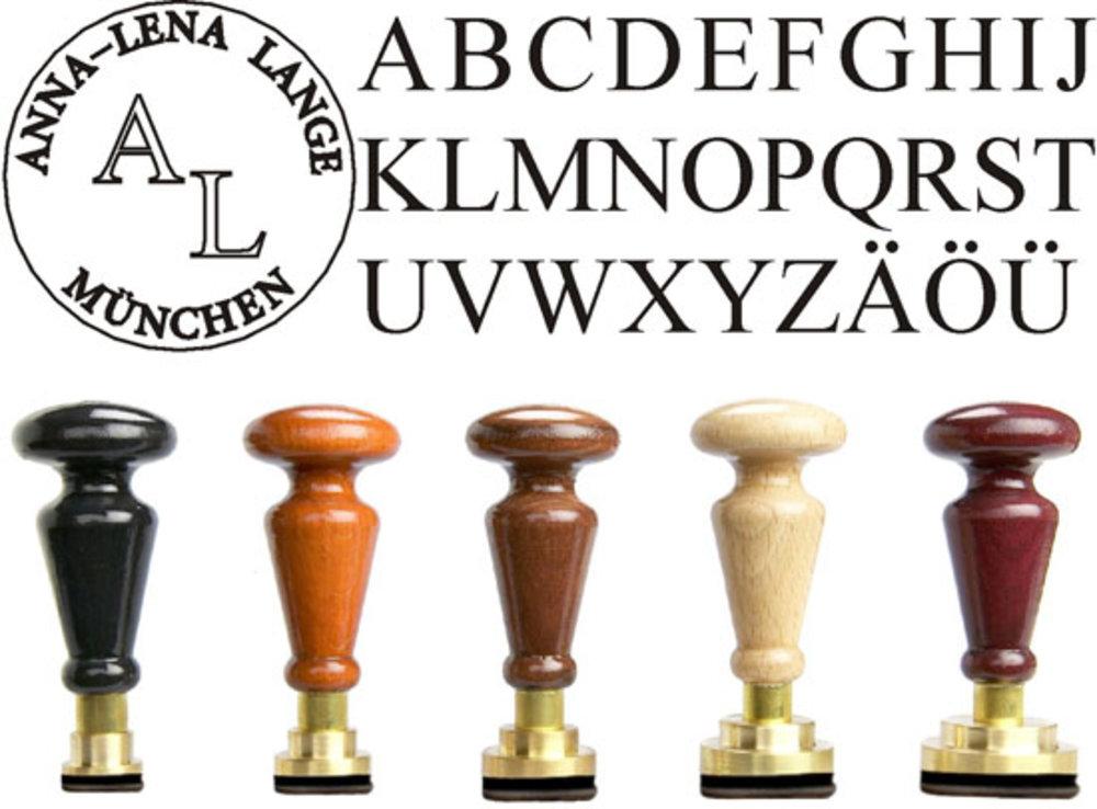 Siegel Gummistempel Times Rundgravur mit Initialen