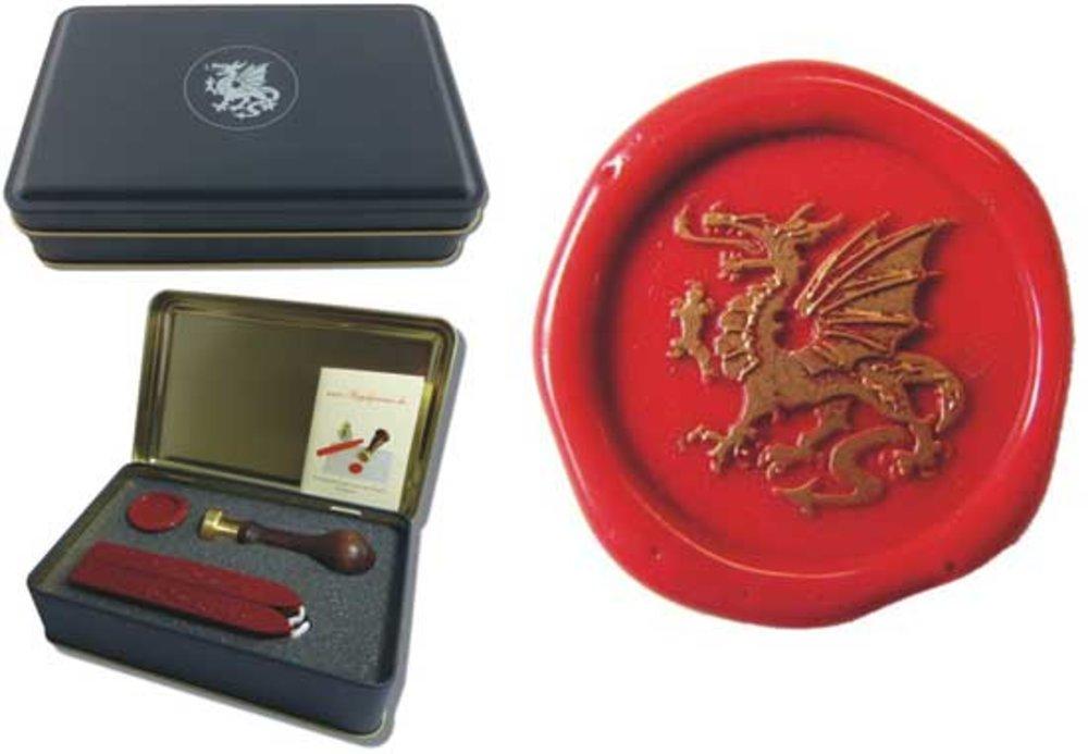 Siegel-Set in Geschenkdose Petschaft - Drachen III - inkl. 2 Stangen Siegelwachs rot mit Docht