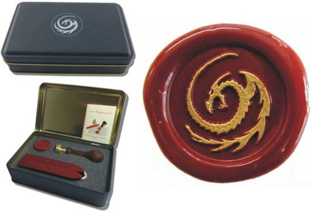 Siegel-Set in Geschenkdose Petschaft - Drachen - inkl. 2 Stangen Siegelwachs rot mit Docht