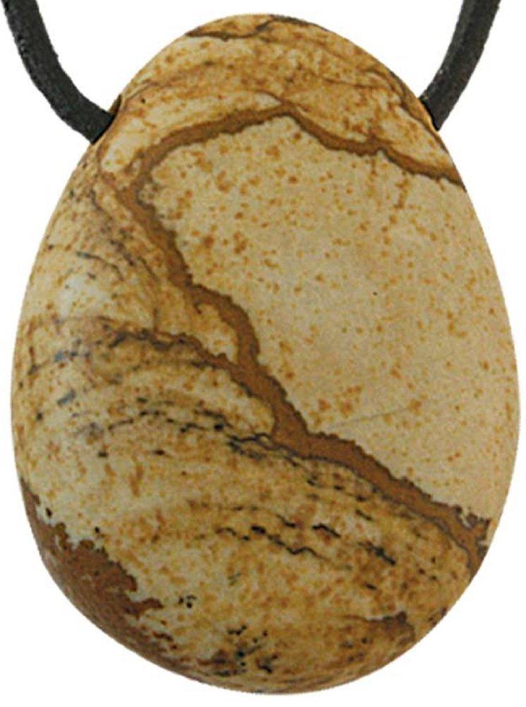 Landschaftsjaspis Tropfen Anhänger, 2,5 bis 3 cm mit Lederband