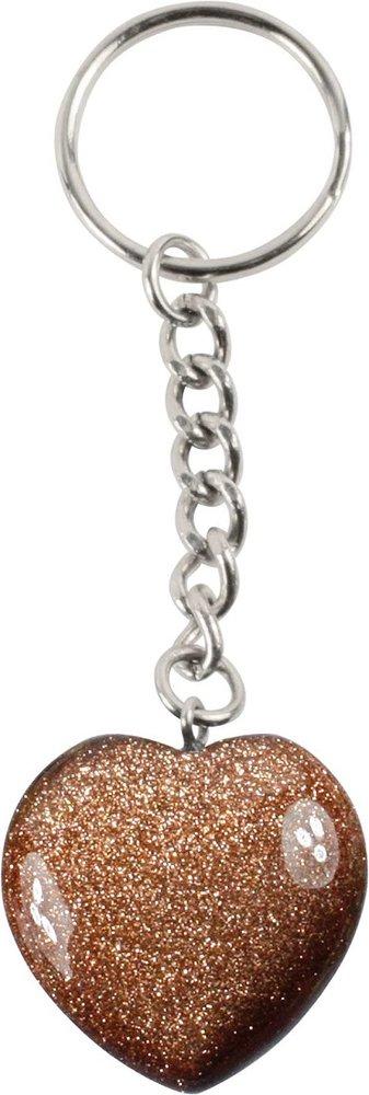 Schlüsselanhänger Goldfluss Herz, 3 cm