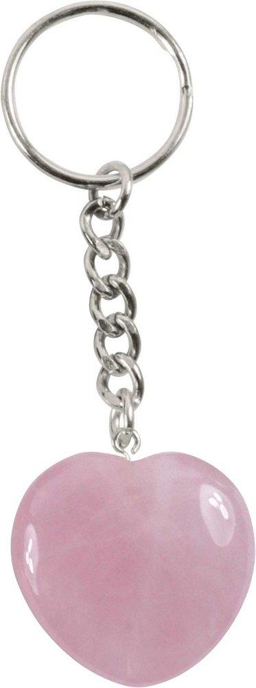 Schlüsselanhänger Rosenquarz Herz, 3 cm