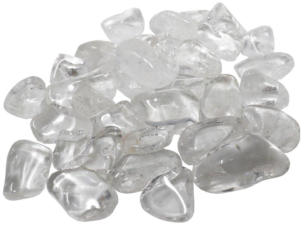 100 g Bergkristall Trommelsteine im Samtbeutelchen, medium