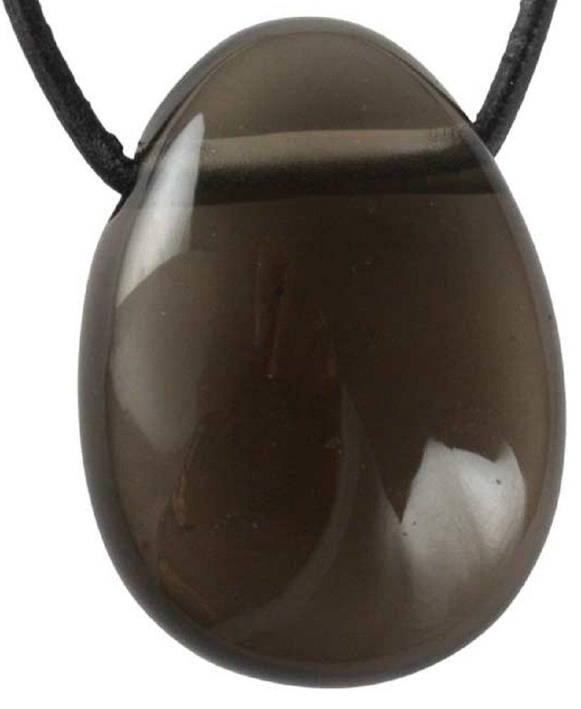 Edelstein Rauchquarz Tropfen Anhänger mit Lederband, 3 cm