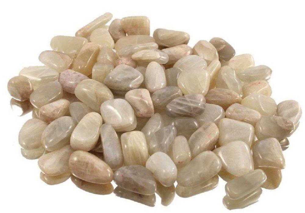 100 g Mondstein Trommelsteine im Samtbeutelchen, medium