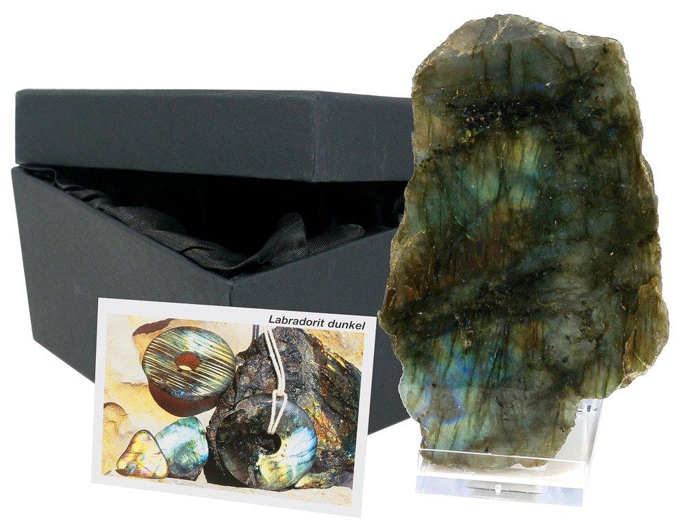Mineral Sammlerbox Labradorit, anpoliert mit Ständer und Info-Karte