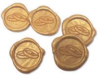 25 Stück fertige Siegelaufkleber Eheringe Gold Ø 35 mm