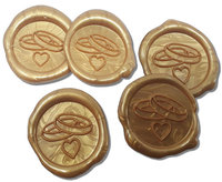 25 Stück fertige Siegelaufkleber Eheringe Herz Gold Ø 35 mm