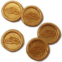 25 Stück fertige Siegelaufkleber Eheringe Gold Ø 27 mm