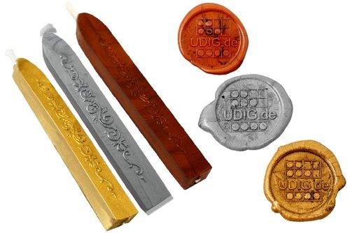 Siegelwachs Stange mit Docht im 3er Set, Gold, Silber und Kupfer