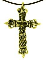 Anhänger Kreuz Lilie, Metall, 4 cm, goldfarben