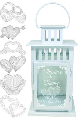 Laterne Metall weiß mit 3D Gravur, Liebe Hochzeit, 28 cm