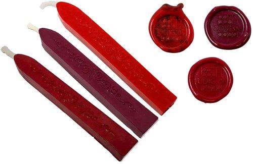 Siegelwachs Stange mit Docht im 3er Set, Bordeaux-Rot, Bordeauxviolett und Feuerrot