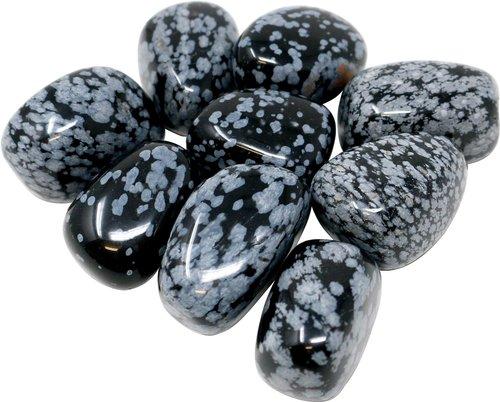 100 g Schneeflocken Obsidian Trommelsteine, medium 2-3 cm