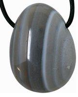 Natur Achat Tropfen Anhänger mit Lederband, 2,5 bis 3 cm