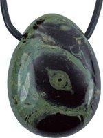 Kambamba Jaspis Tropfen Anhänger mit Lederband, 3 cm
