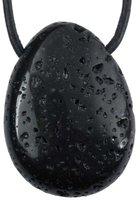 Lavastein Tropfen Anhänger mit Lederband, 3 cm