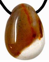 Mookait Tropfen Anhänger, gelb weiß, mit Lederband, 3 cm