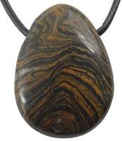 Edelstein Stromatolith Tropfen Anhänger mit Lederband, 3 cm