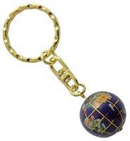Schlüsselanhänger Edelstein Lapis Lazuli Globus, 2,5 cm
