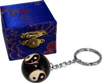 Schlüsselanhänger Cloisonné, Klangkugel mit Yin Yang, 2,7 cm