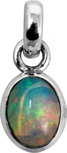 Welo Opal Anhänger mit 925er Silberfassung, 1,5 cm