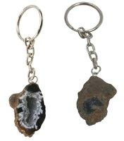 Schlüsselanhänger Achat Geode, ca. 4 cm, dunkel, 1 Stück