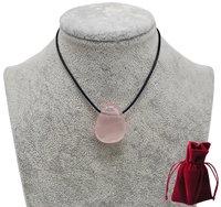 Geschenkset Lederkette mit Rosenquarz Tropfen Anhänger, 3 cm