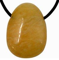 Orangencalcit Tropfen Anhänger mit Lederband, 2 bis 3 cm