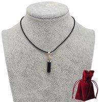 Geschenkset Lederkette mit Turmalin Anhänger, 925er Silberkappe