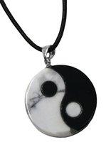 Edelstein Yin & Yang Anhänger im Geschenkset mit Lederkette