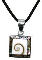 Paua Muschel Anhänger mit Shivas Auge und 925er Silber, 2 cm