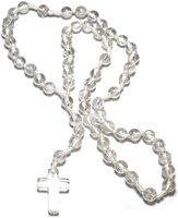 Gebetskette Rosenkranz aus Bergkristall, 59 Kugeln