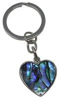 Schlüsselanhänger Herz, Paua Muschel, 7 cm