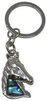 Schlüsselanhänger Pferdekopf, Paua Muschel, 8 cm