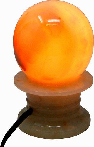 Kugel Lampe aus Onyx Marmor, 8 x 13 cm, Naturstein, kabelgebunden mit LED E14 Lampe