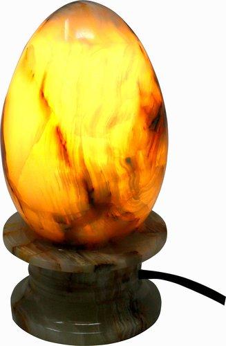 Lampe Ei aus Onyx Marmor, 8 x 16 cm, Naturstein, kabelgebunden mit LED E14 Lampe