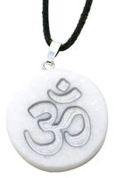Marmor Anhänger mit OM Gravur in Silber, 3 cm