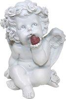 Süßer Engel mit Edelsteinherz Rhodonit, 16 cm