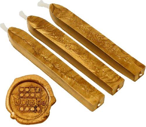 Siegelwachs Stange mit Docht Gold, 3 Stück